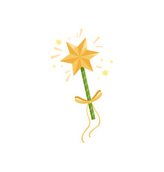 Colorful icon of fairy s wand with big golden star vector