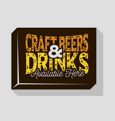 Craft beers and drinks typographic sign design for vector