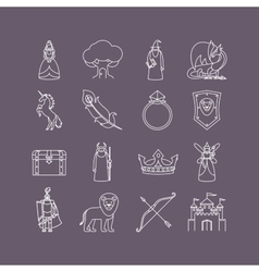Fairy tale thin line icon set vector