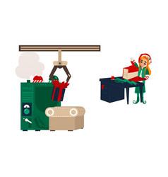 Flat elf girl wrapping present box vector