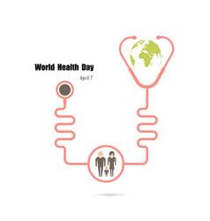 globe signhuman icon and stethoscope logo design vector image vector image