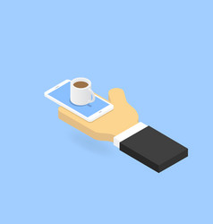 hand with smartphone and cup of coffee ordering vector image