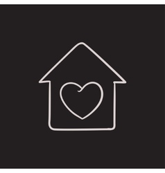 House with heart symbol sketch icon vector image vector image