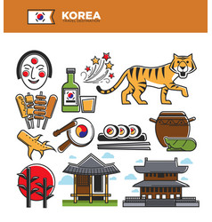 Korea travel famous landmarks and korean culture vector