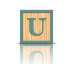 Letter u wooden alphabet block vector