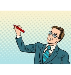 Male business coach draws on background vector image vector image
