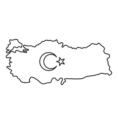 Map of Turkey icon outline style vector image