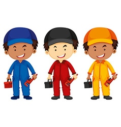 Plumbers wearing different color outfit vector image