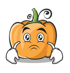 Sad face pumpkin character cartoon style vector