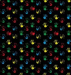Seamless pattern hand print colored vector image