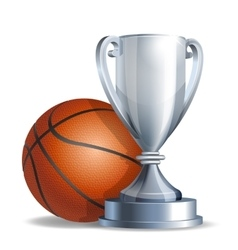 Silver trophy cup with a basketball ball vector