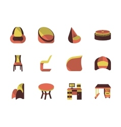 Stylish furniture flat icons set vector image
