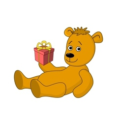 Teddy bear with a gift box vector image