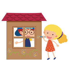 Two kids playing in the playhouse vector