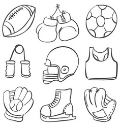 Various sport equipment doodle style vector