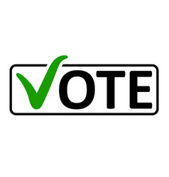 word vote with a green checkmark vector image vector image