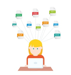 File extensions people with computers vector image