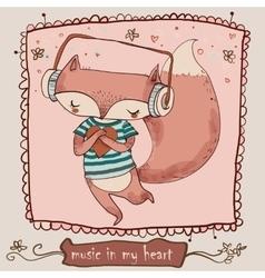 Cute cartoon fox enjoys the music with headphones vector