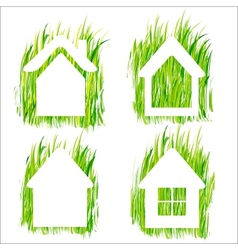 Green grass home icons set 1 vector image