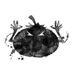 Halloween pumpkin with ink structure vector