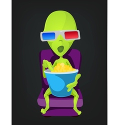 Cartoon 3D Cinema Alien vector image
