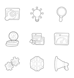 Seo promotion icons set outline style vector