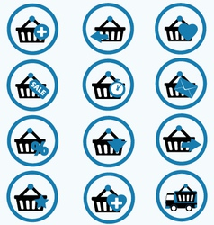 Ecommerce shopping basket flat icons set 3 vector