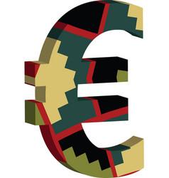 3d euro symbol vector