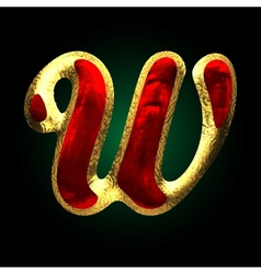 Golden and red letter w vector