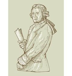 17th century gentleman or aristocrat wearing wig vector