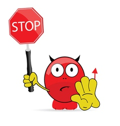 Sweet and cute devil with sign stop vector