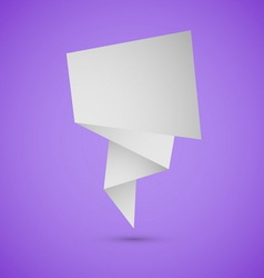 Abstract origami speech background on violet vector image