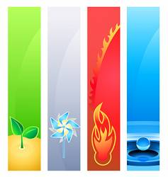 4 nature element banner backgrounds vector image