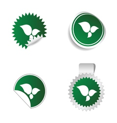 Sticker green color with white leaf icon vector