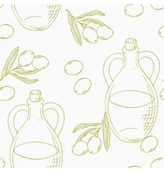 Outline seamless pattern with hand drawn olive oil vector
