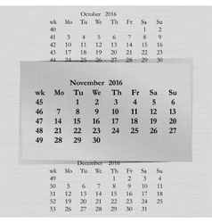 Calendar month for 2016 pages november start vector