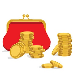 Red purse and coins vector