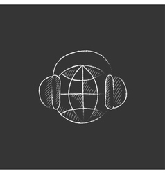 Globe in headphones drawn in chalk icon vector