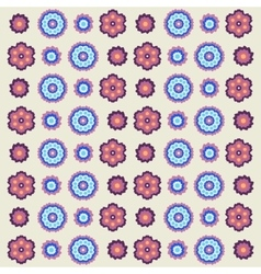Vintage flowers pattern in retro colors vector