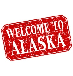Welcome to alaska red square grunge stamp vector