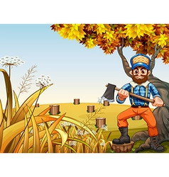 A hilltop with stumps and a lumberjack holding an vector image vector image