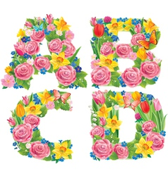Alphabet of flowers ABCD vector image vector image
