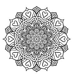 Black mandala with hearts vector