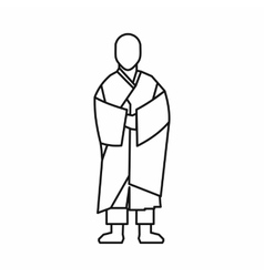 Buddhist monk icon outline style vector image vector image