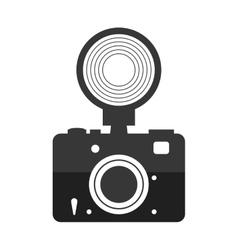 Camera with flash icon gadget design vector
