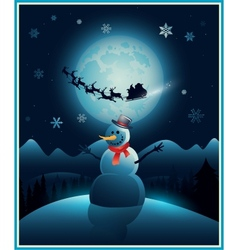 Christmas winter snowman background greeting card vector image vector image