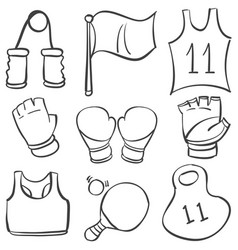 collection stock sport equipment doodles vector image vector image