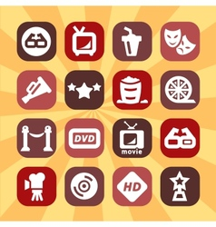 Color cinema icons set vector