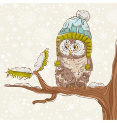 Cute winter Christmas card of an owl vector image