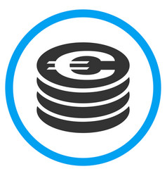 Euro coin column rounded icon vector